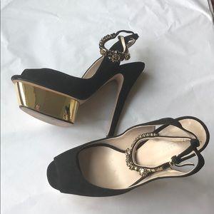 Zara Crystal platform heels size 10